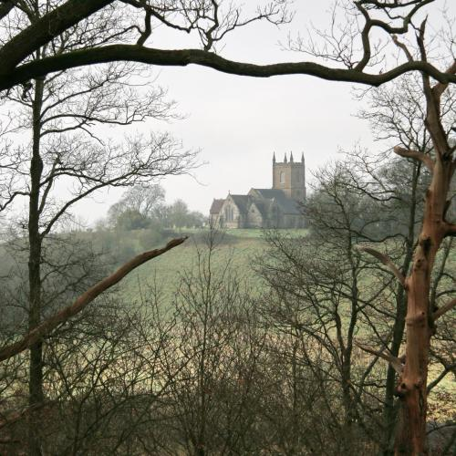 Hanbury Church from the Woods